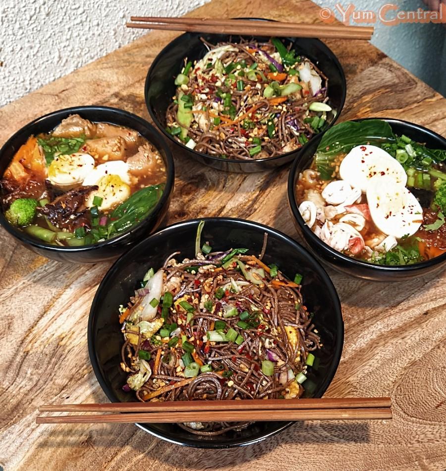 Chicken Ramen, Chicken Yaki Sowa, Seafood Ramen, and Prawn Yaki Sowa